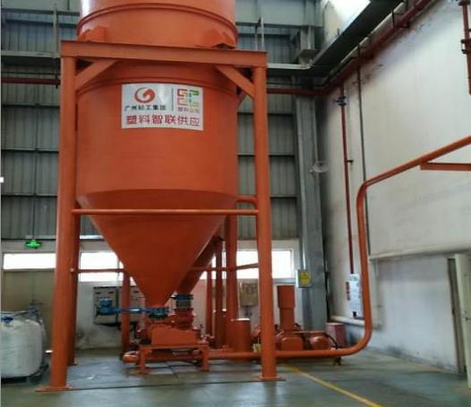 广东塑料颗粒厂塑料颗粒循环输送系统调试成功